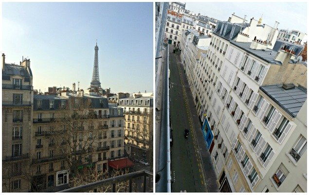 Incredible views of the Eiffel Tower and a pretty side street leading to rue Cler