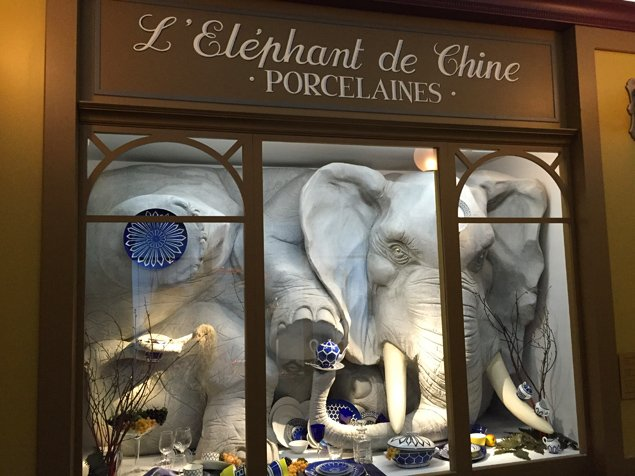 and suddenly an elephant appears in a shop window