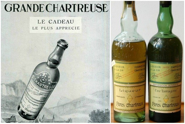 Chartreuse Ad and Old Bottles