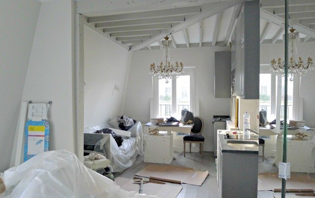 Paris Apartment Remodel - From Bed to Living Room