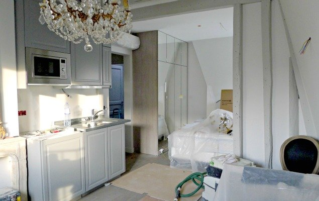 Paris Apartment Remodel - Kitchen View and Bedroom