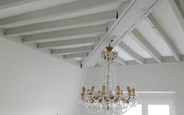 Paris Apartment Remodel - Painted Wooden Beams