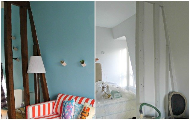 Paris Apartment Remodel - Partial Wall Before and After