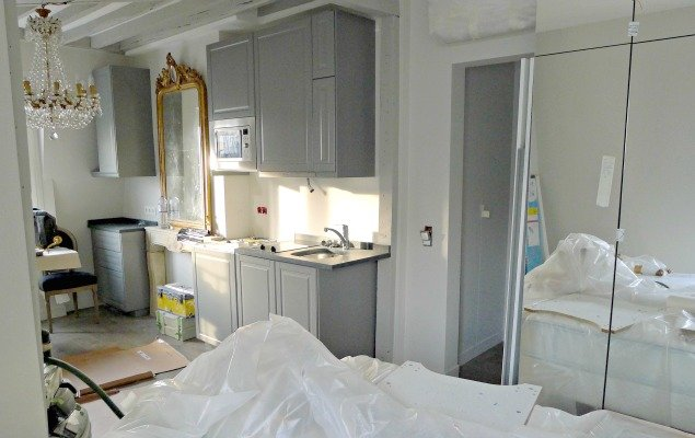 Paris Apartment Remodel - View from Bed to Kitchen