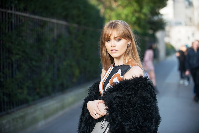 Fashion blogger Kristina Bazan attending Paris Haute Couture Week