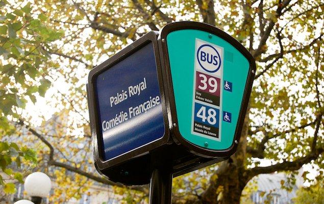 Paris bus sign at Palais Royal Louvre