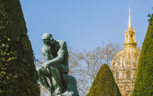 The Thinker, in the garden of the Musée Rodin