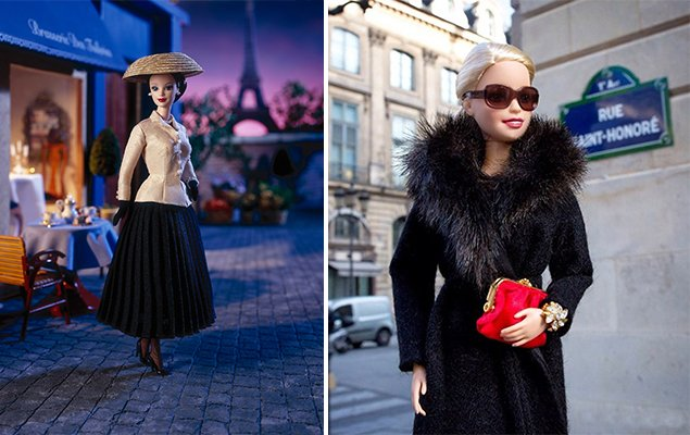 Dior Barbie (1997), and Picture from Barbie's Instagram Account (2015). © Mattel