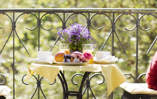 Paris apartment rental with balcony, Parisian breakfast