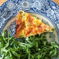Crust-free Leek and Prosciutto Quiche Recipe with Gruyere Cheese and Dill
