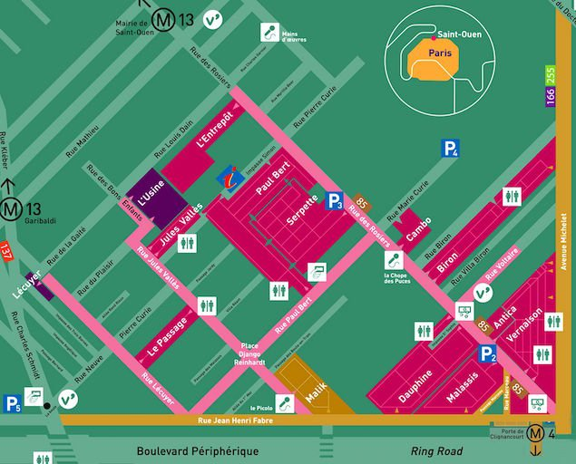 Map of the Paris Flea Market from the official Brochure