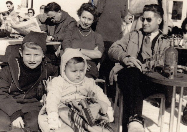 Elegant Ninette and Pierre in the French Alps in the 1950s with their sons Philippe and Thierry