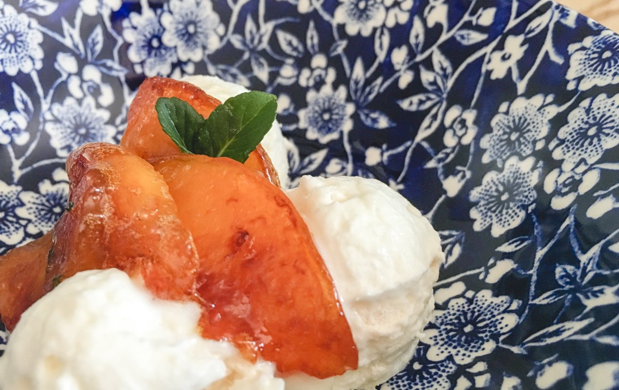 Frozen Vacherin with Honey-Caramelized Nectarines