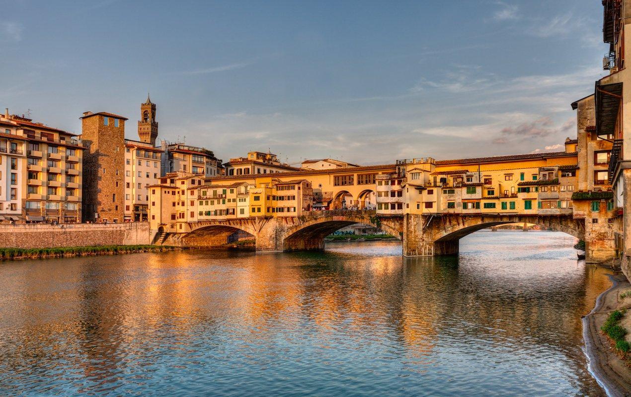 Ponte Vecchio covered in buildings.