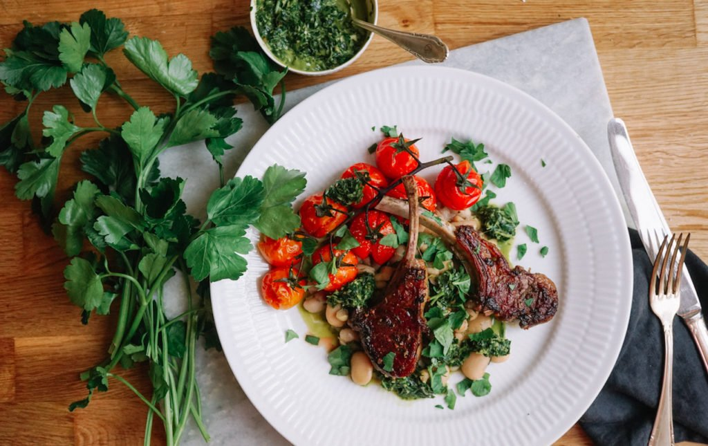 Garlic Lamb Chops with Bean Salad & Persillade | Paris Perfect