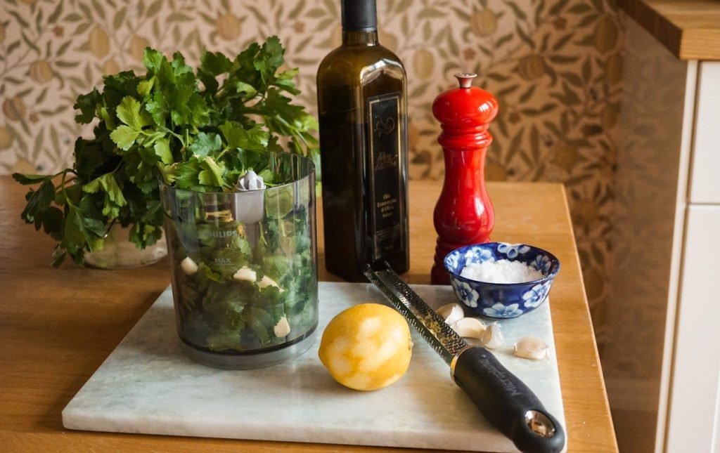 Garlic Lamb Chops with Bean Salad & Persillade   Paris Perfect