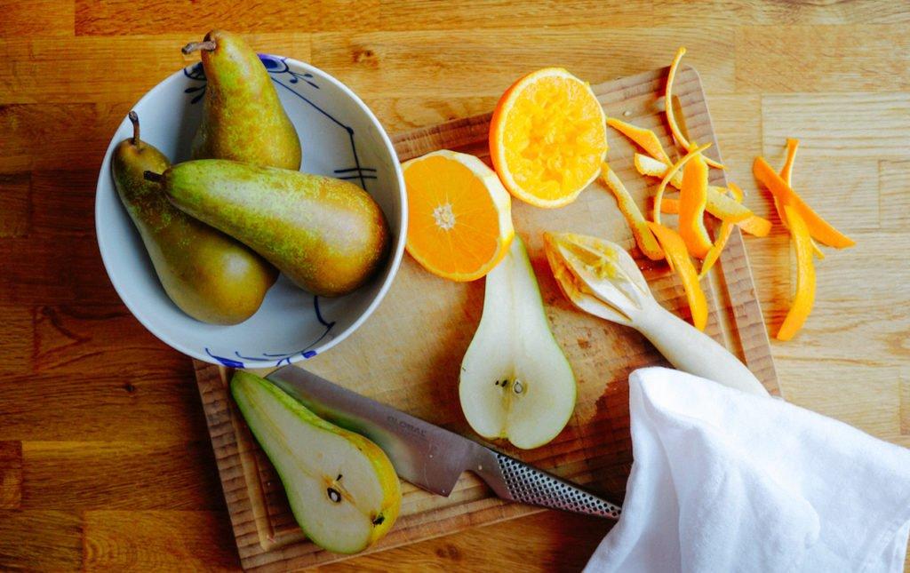 Orange-Maple Glazed Pears with Vanilla Crème Fraiche