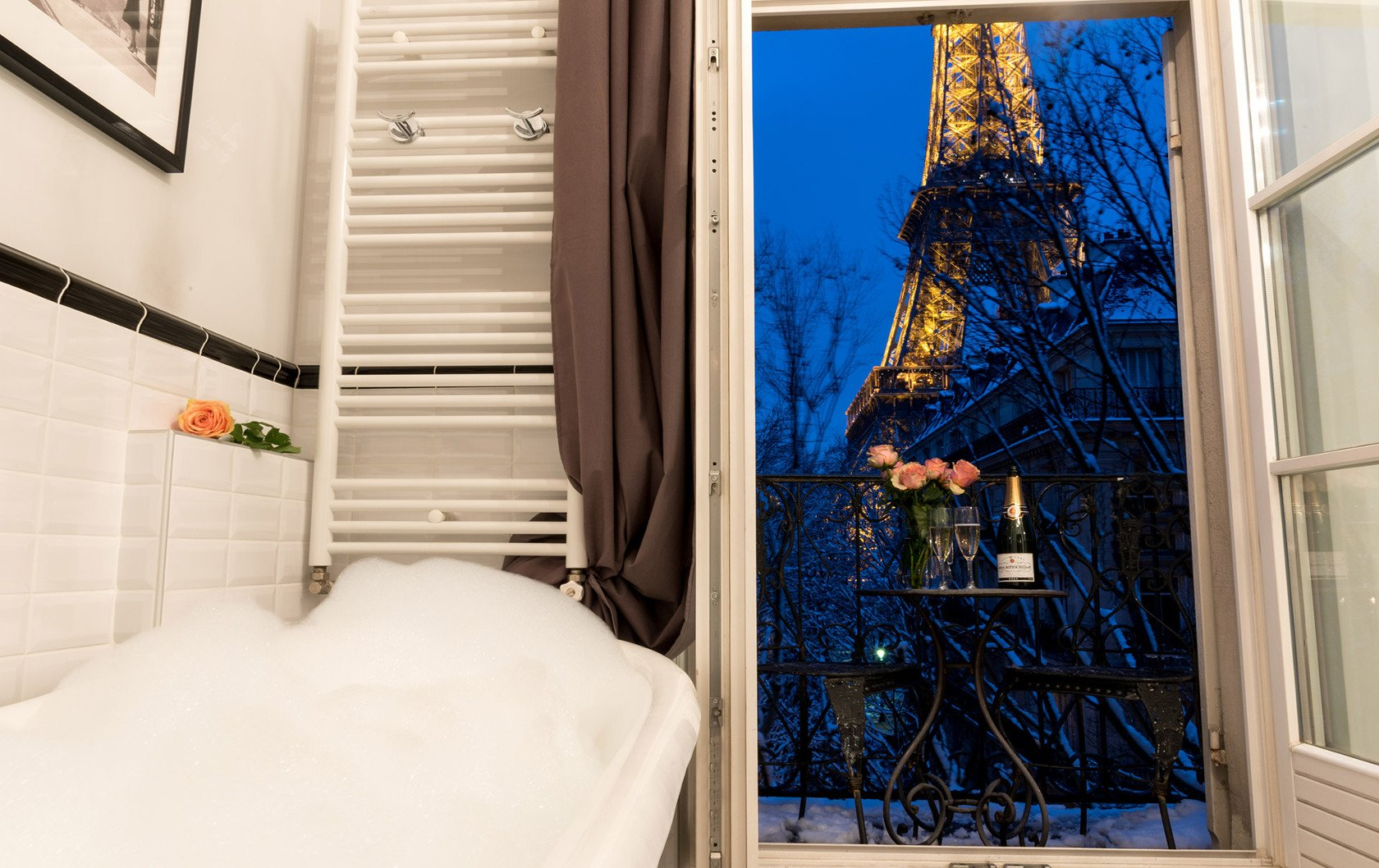 Dreamy Eiffel Tower view from the Chambertin apartment