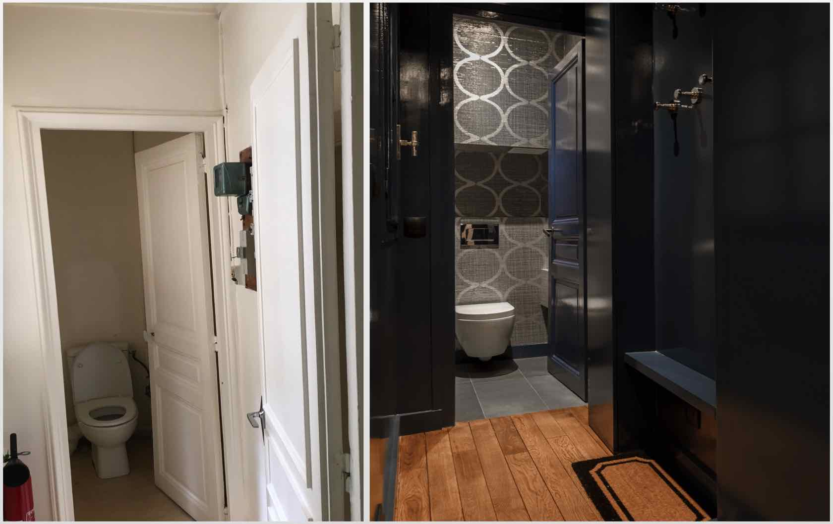 Buying and Renovating a Paris Apartment Saint Pourçain by Paris Perfect half bathroom