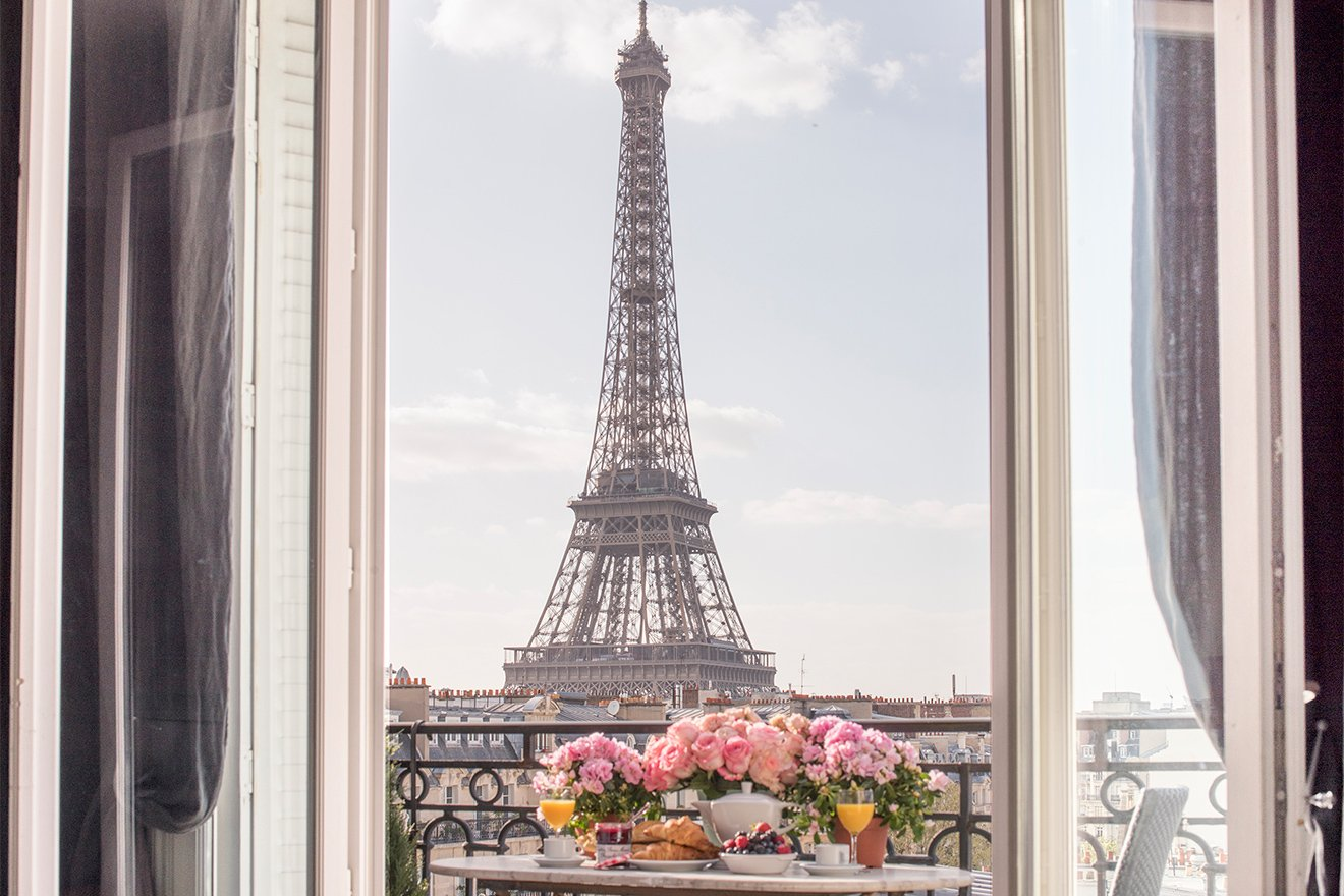 View of the Eiffel Tower from the Chateau Latour apartment- 7 of Our Most Instagrammable Apartments in Paris by Paris Perfect