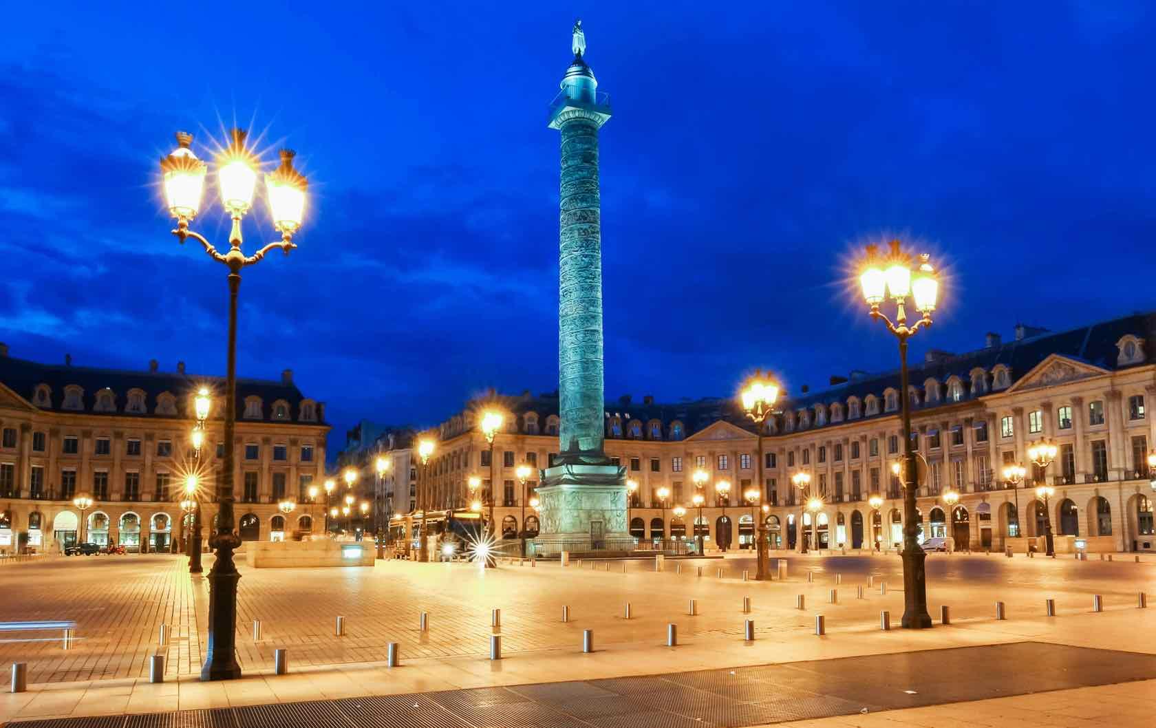Place Vendome Night beautiful squares in Paris