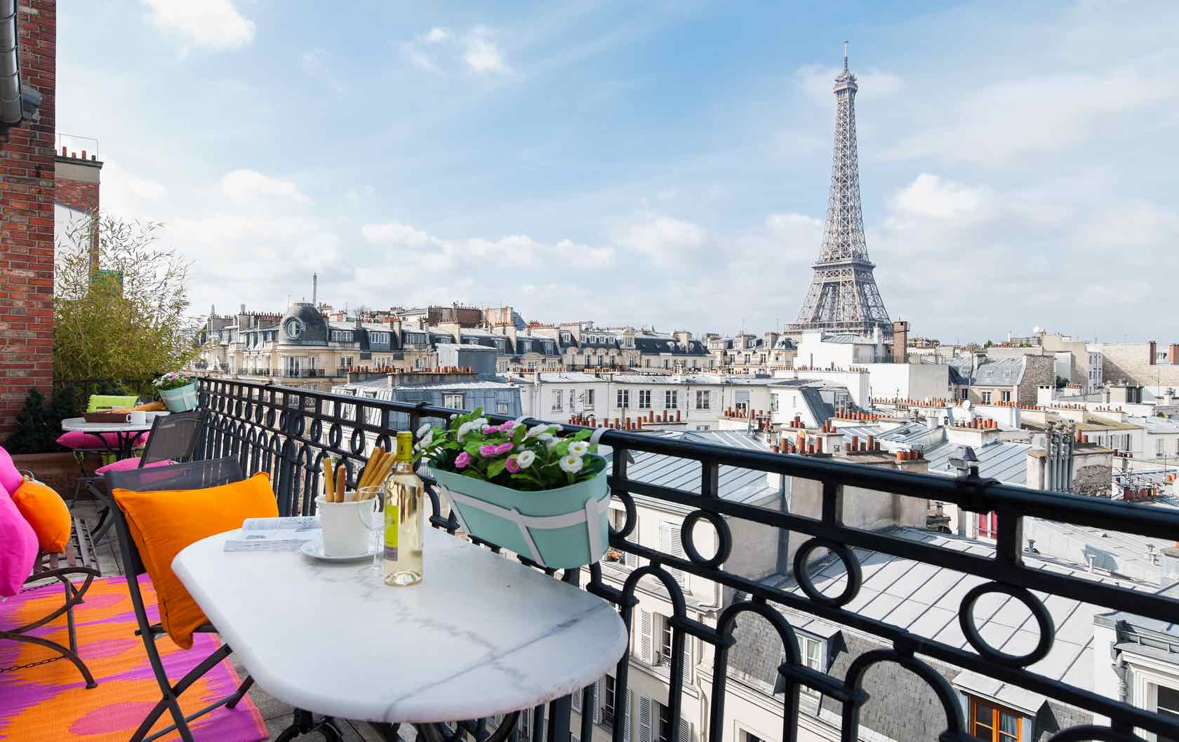 View of Eiffel Tower from Cognac Apartment