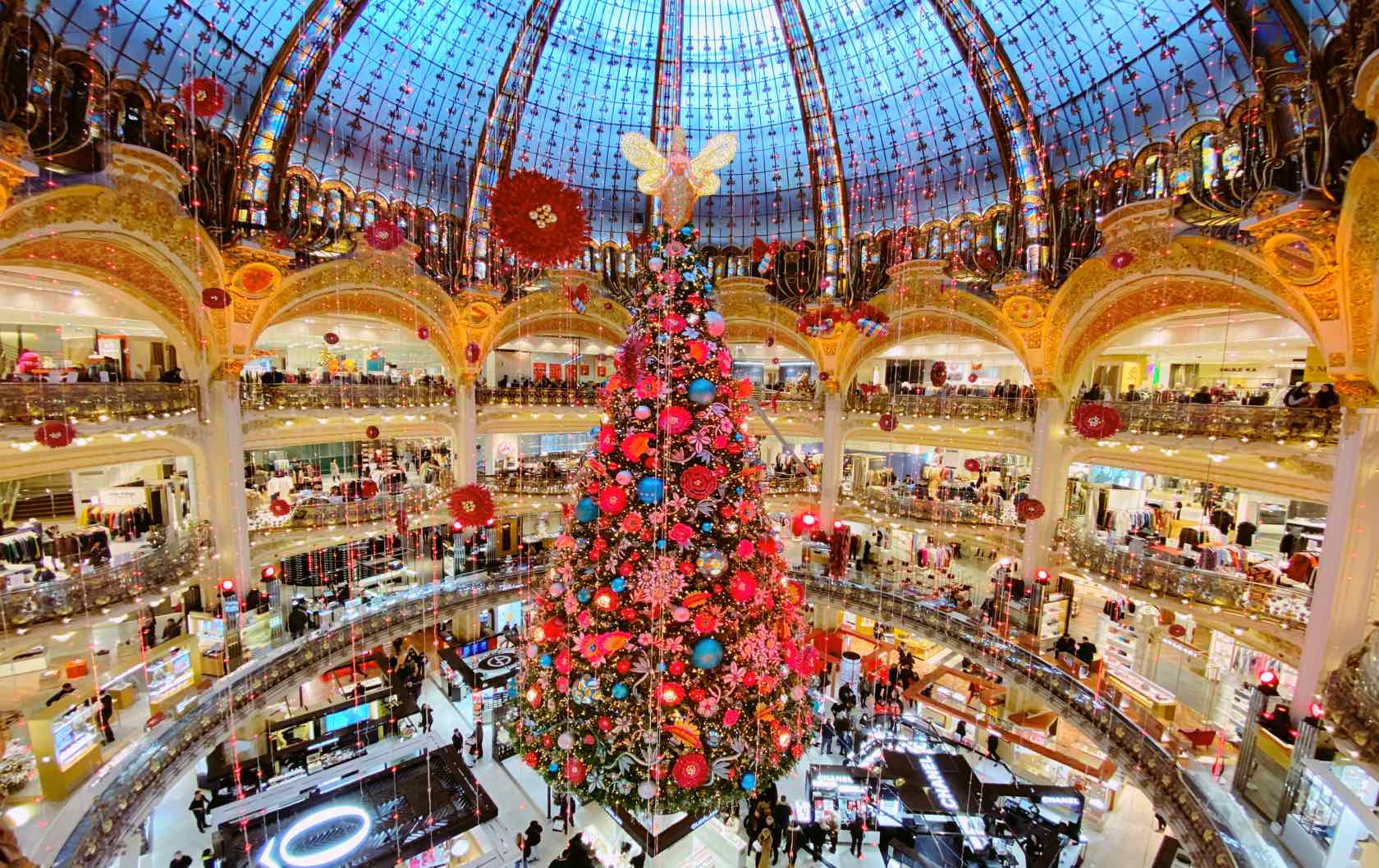 A Guide to Christmas in Paris Galeries Lafayette Tree
