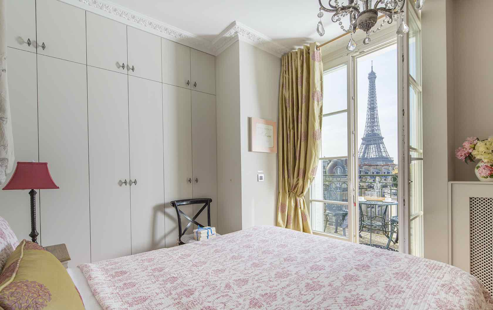 Eiffel Tower view from bedroom at the Margaux