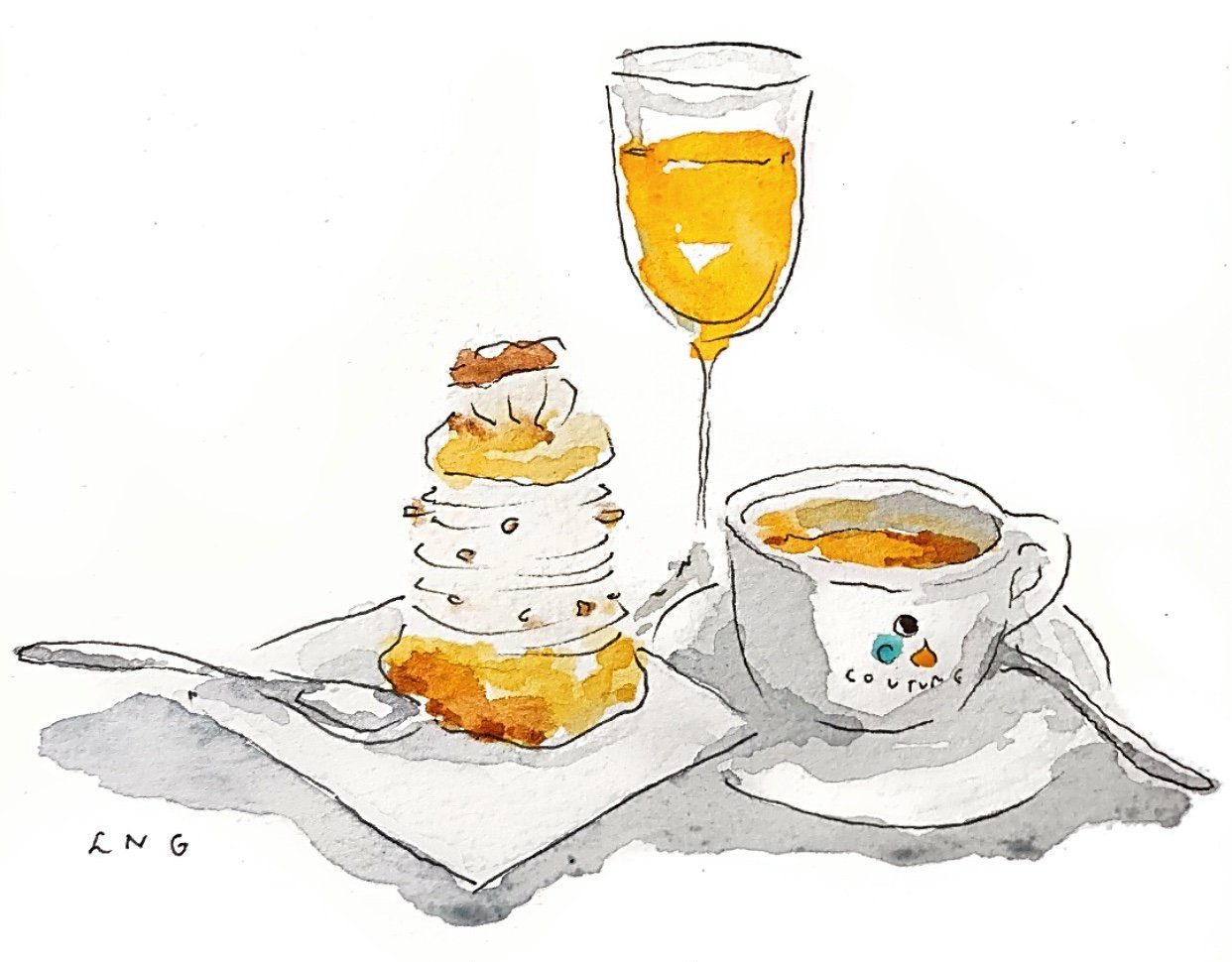 Parisian Postcards Coffee Watercolor