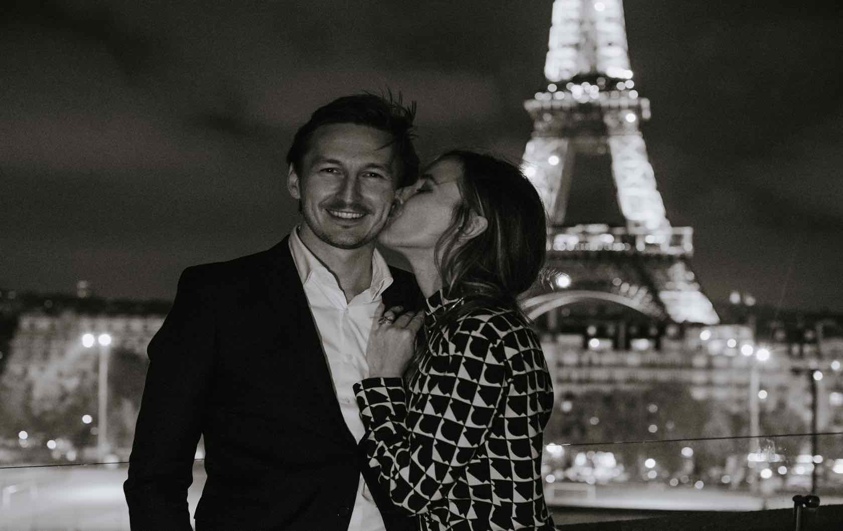 Oliver and Lina Eiffel Tower at Night