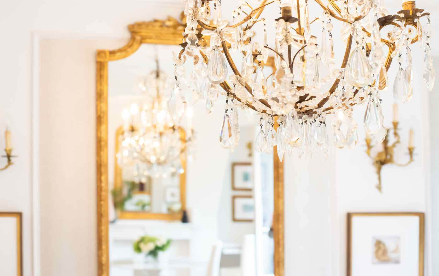 French mirror and chandelier