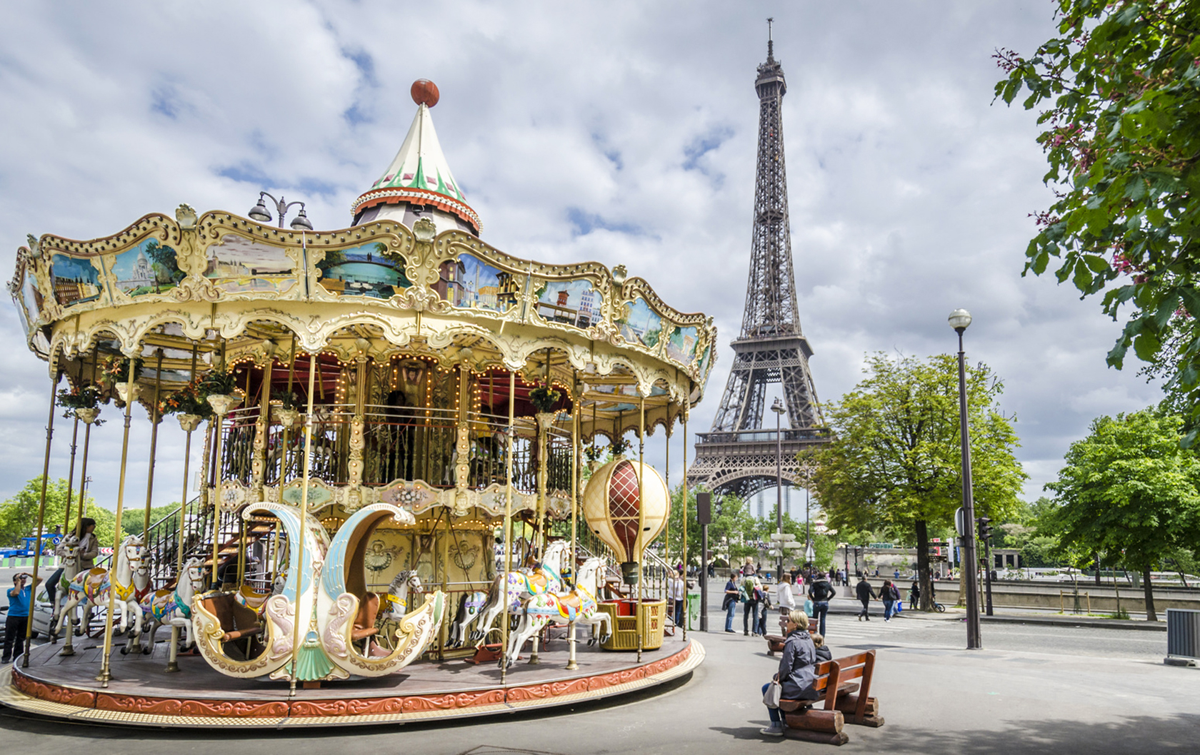 View of the Eiffel Tower in Paris with Carousel