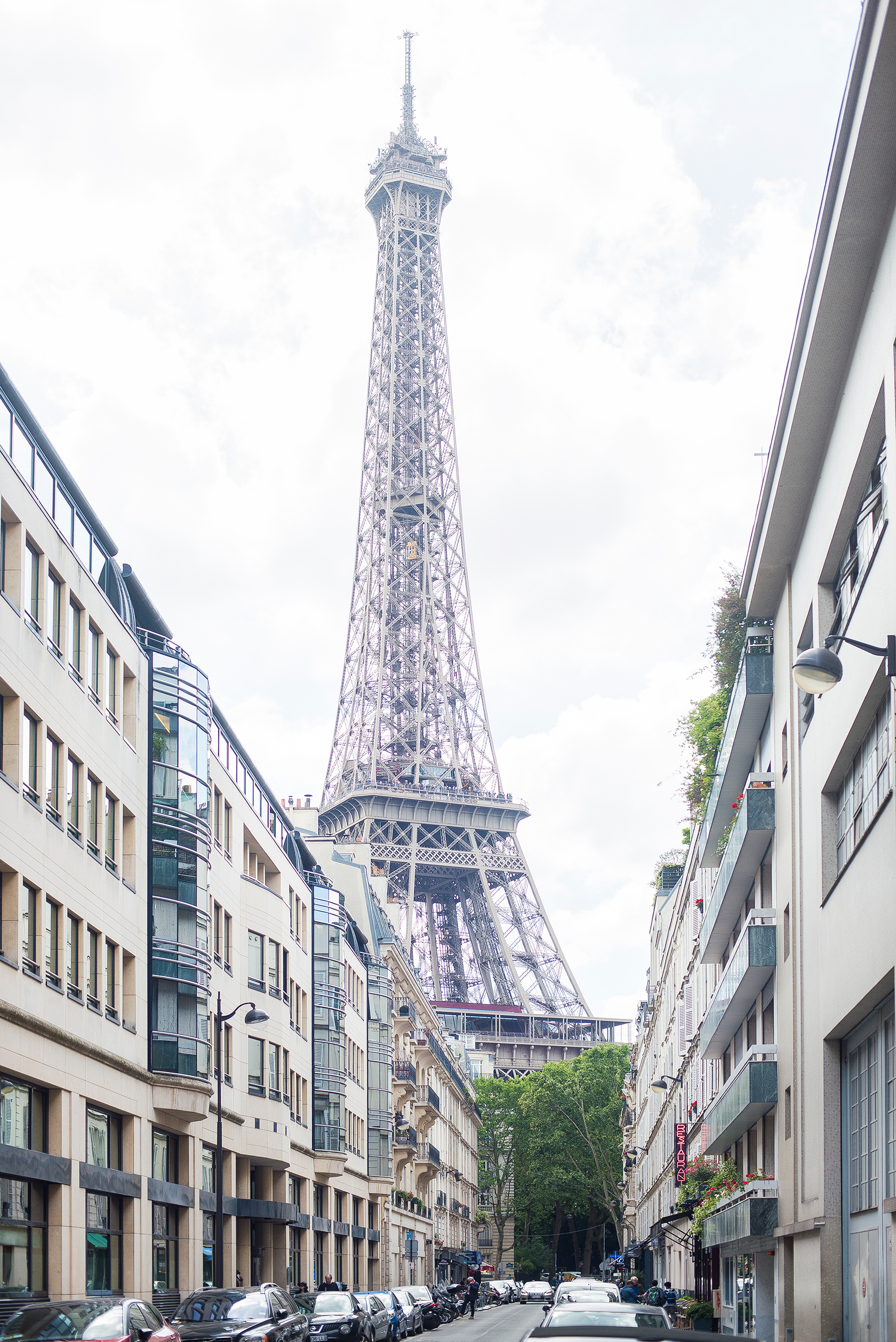 View of the Eiffel Tower along Rue de Monttessuy