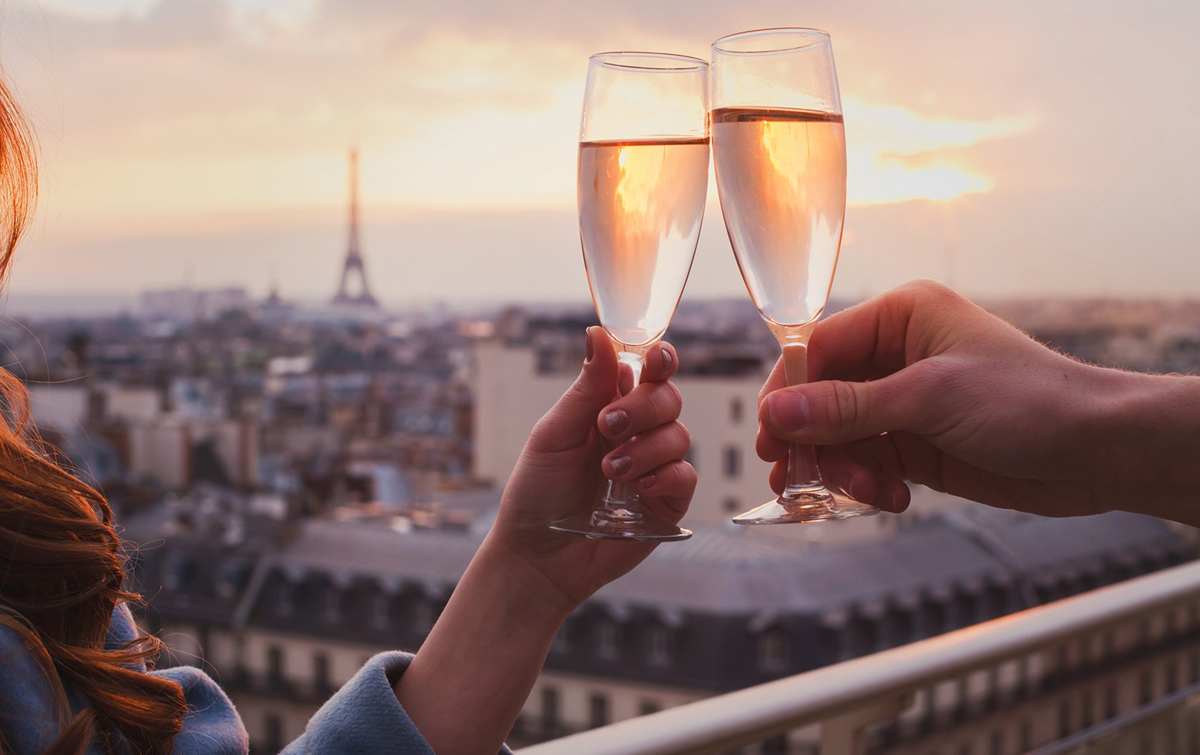 Romantic Champagne toast in Paris