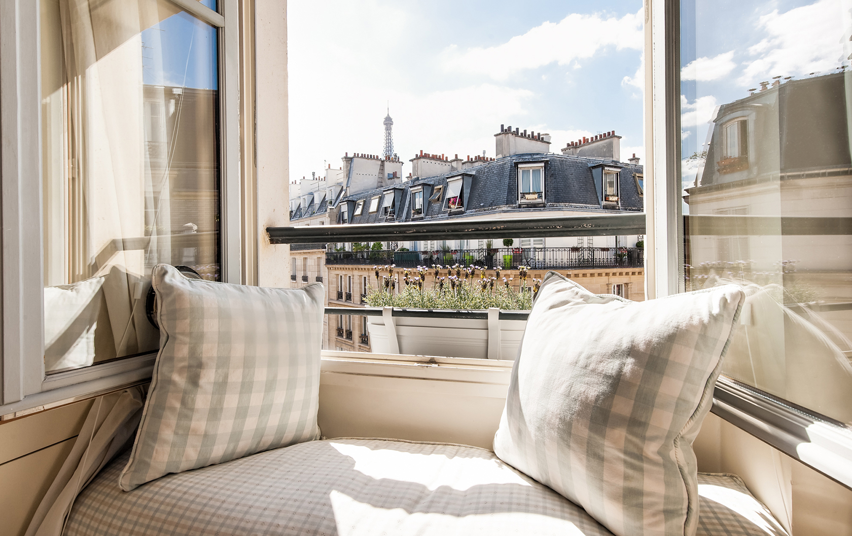 Window view of the Eiffel Tower from Pomerol apartment