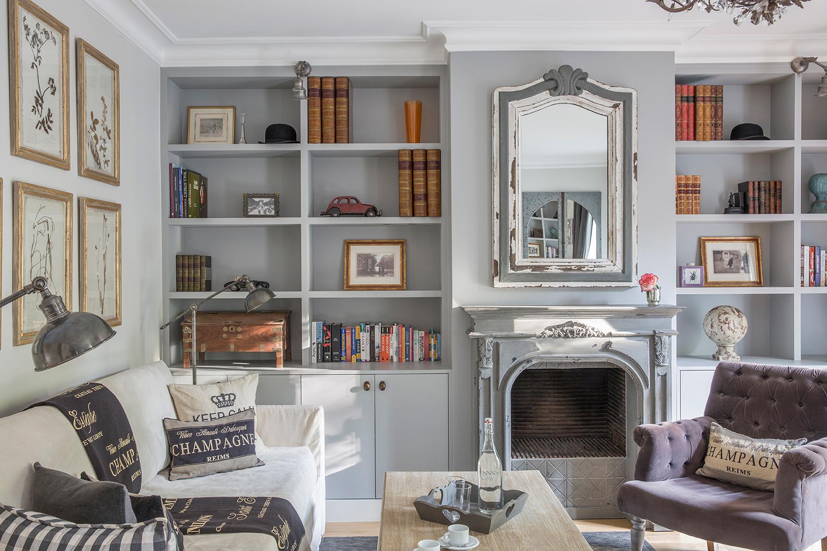 Beaujolais bookshelves before