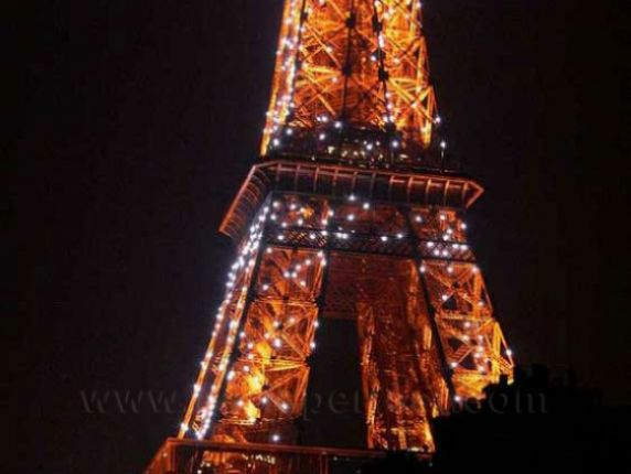 Eiffel Tower at Night Closeup
