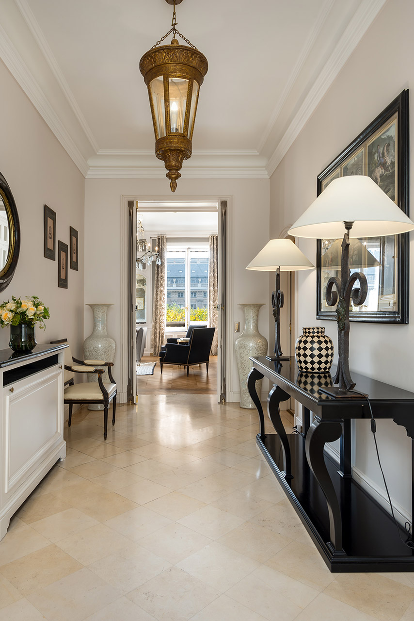 Natural light floods the hall of the Chopine vacation rental offered by Paris Perfect