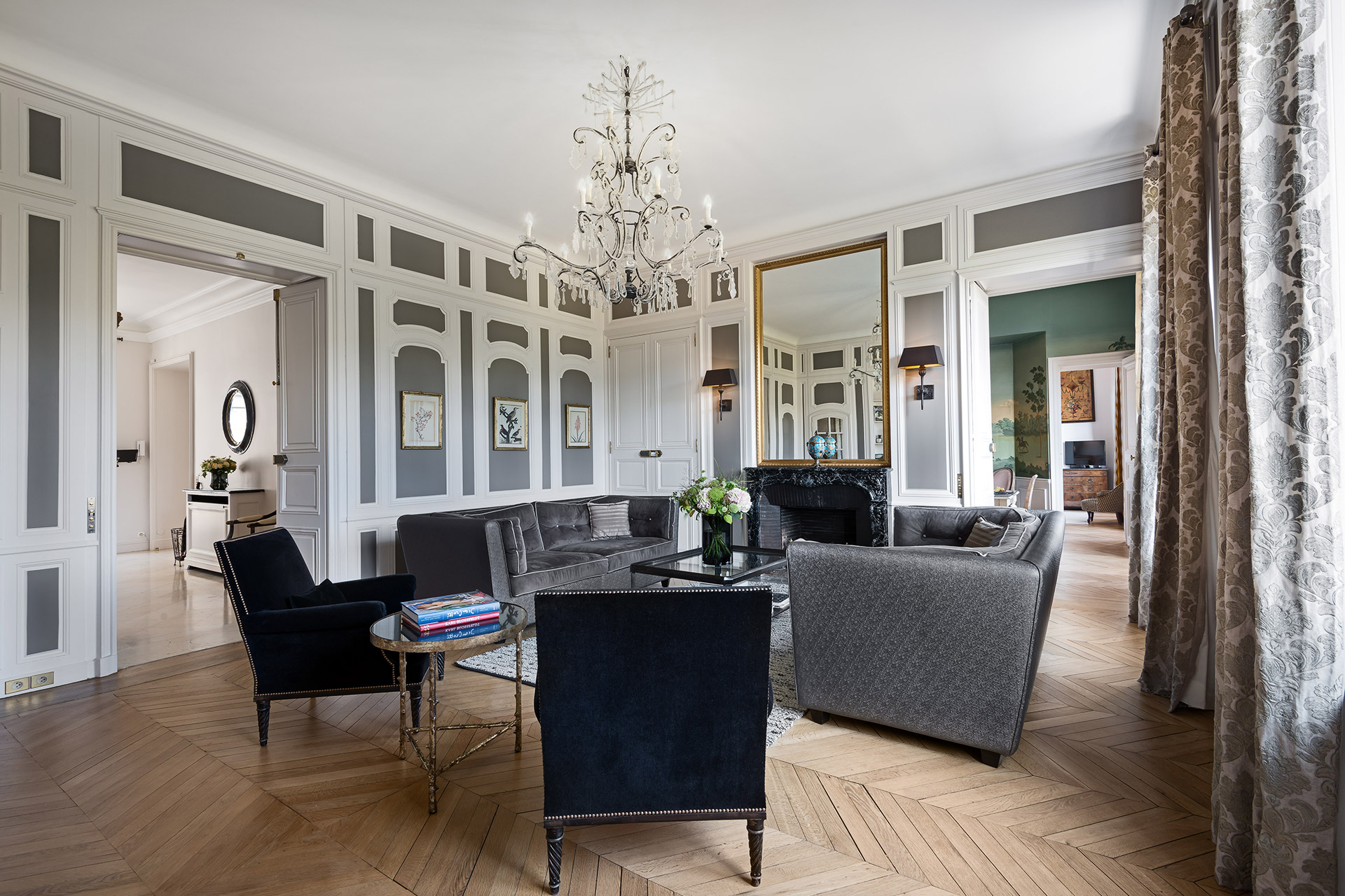 Elegant original features throughout the Chopine vacation rental offered by Paris Perfect