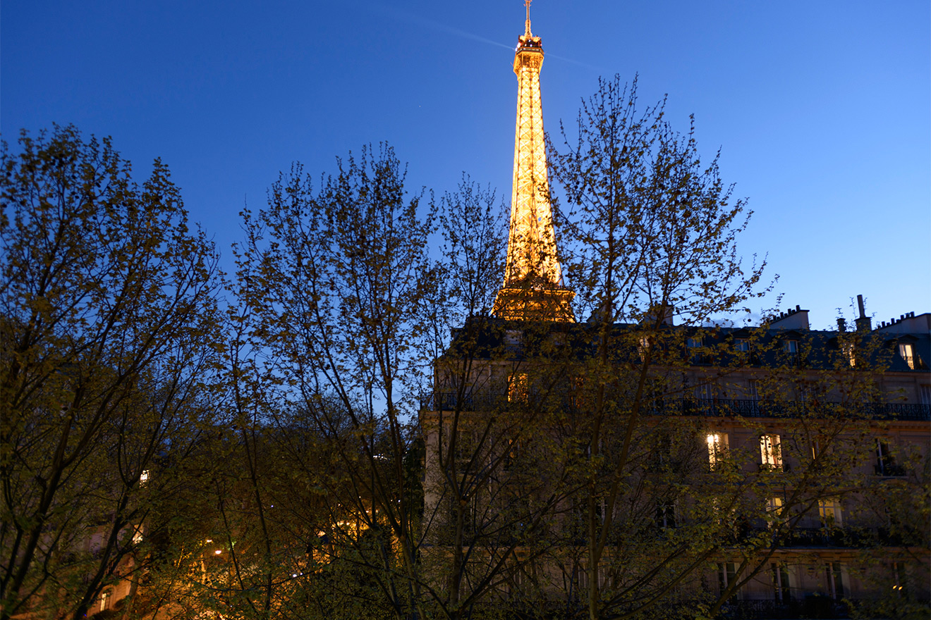 Stunning view of the Eiffel Tower from the Calvados vacation rental offered by Paris Perfect