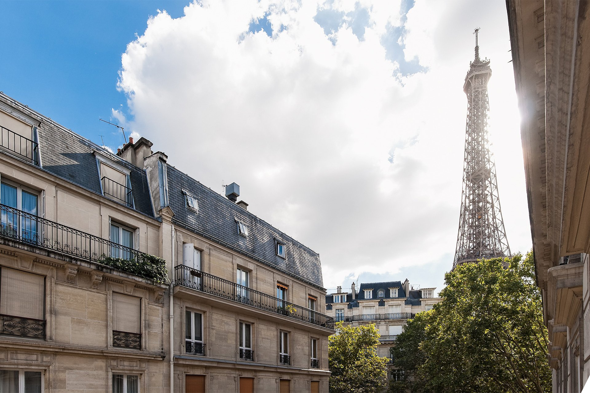 View of the Eiffel Tower from the Montagny vacation rental offered by Paris Perfect