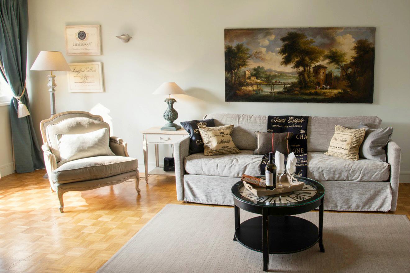 Elegant living room parquet floors