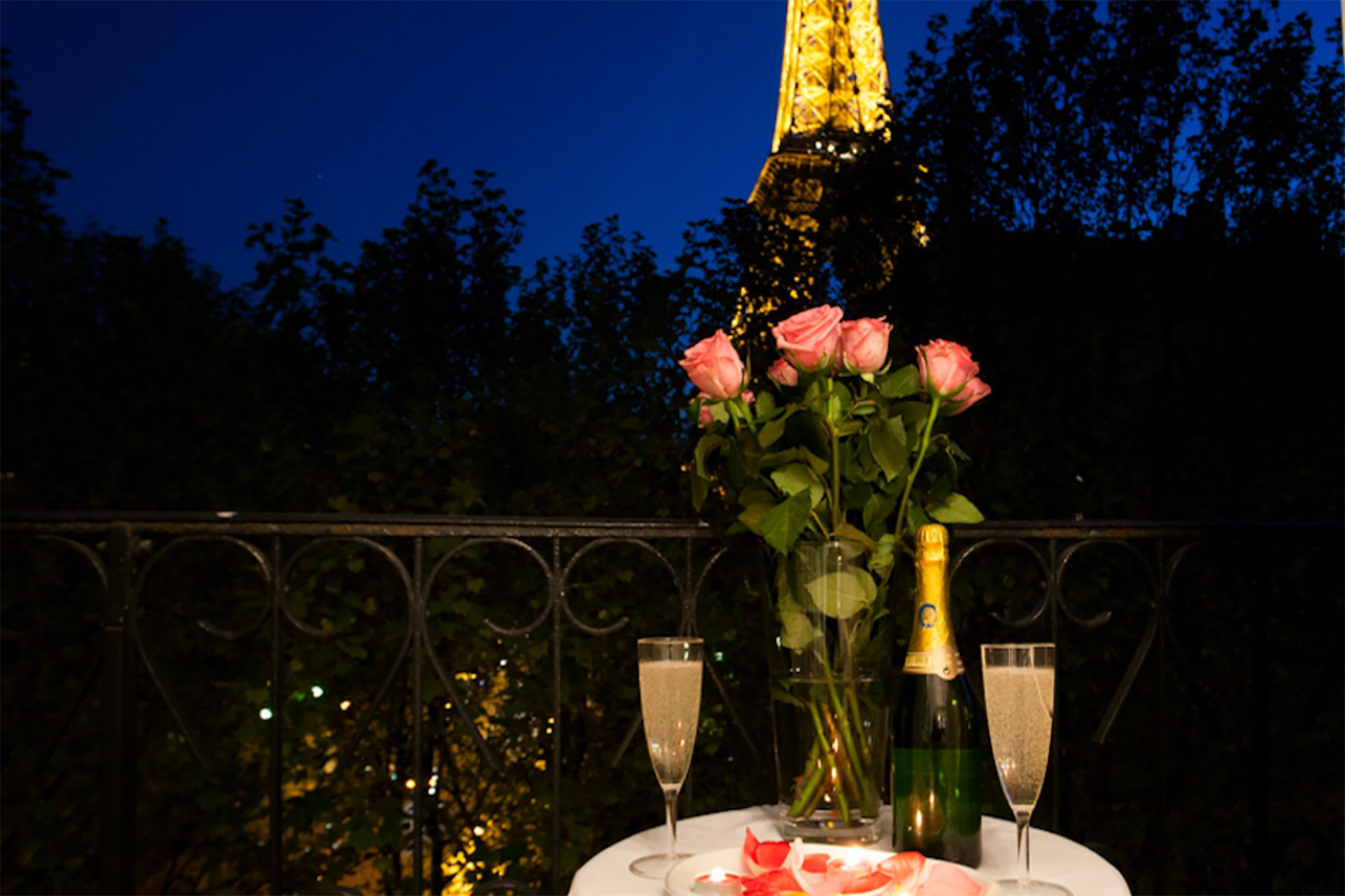 Romantic balcony with Eiffel Tower views in the Chambertin vacation rental offered by Paris Perfect