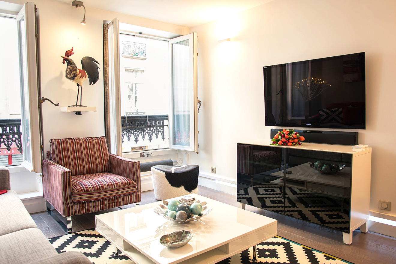 Large flat screen TV in the Carménère vacation rental offered by Paris Perfect