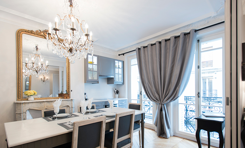 Large French doors in the Monthelie vacation rental offered by Paris Perfect