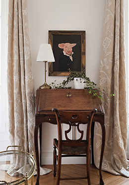 Vintage writing desk in the Montagny vacation rental offered by Paris Perfect