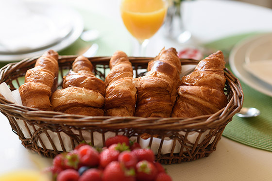 Fresh croissants in the Clairette vacation rental offered by Paris Perfect