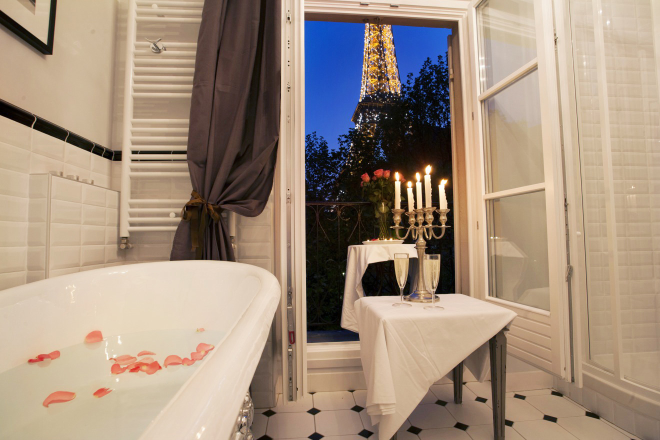 Bathroom with Eiffel Tower View
