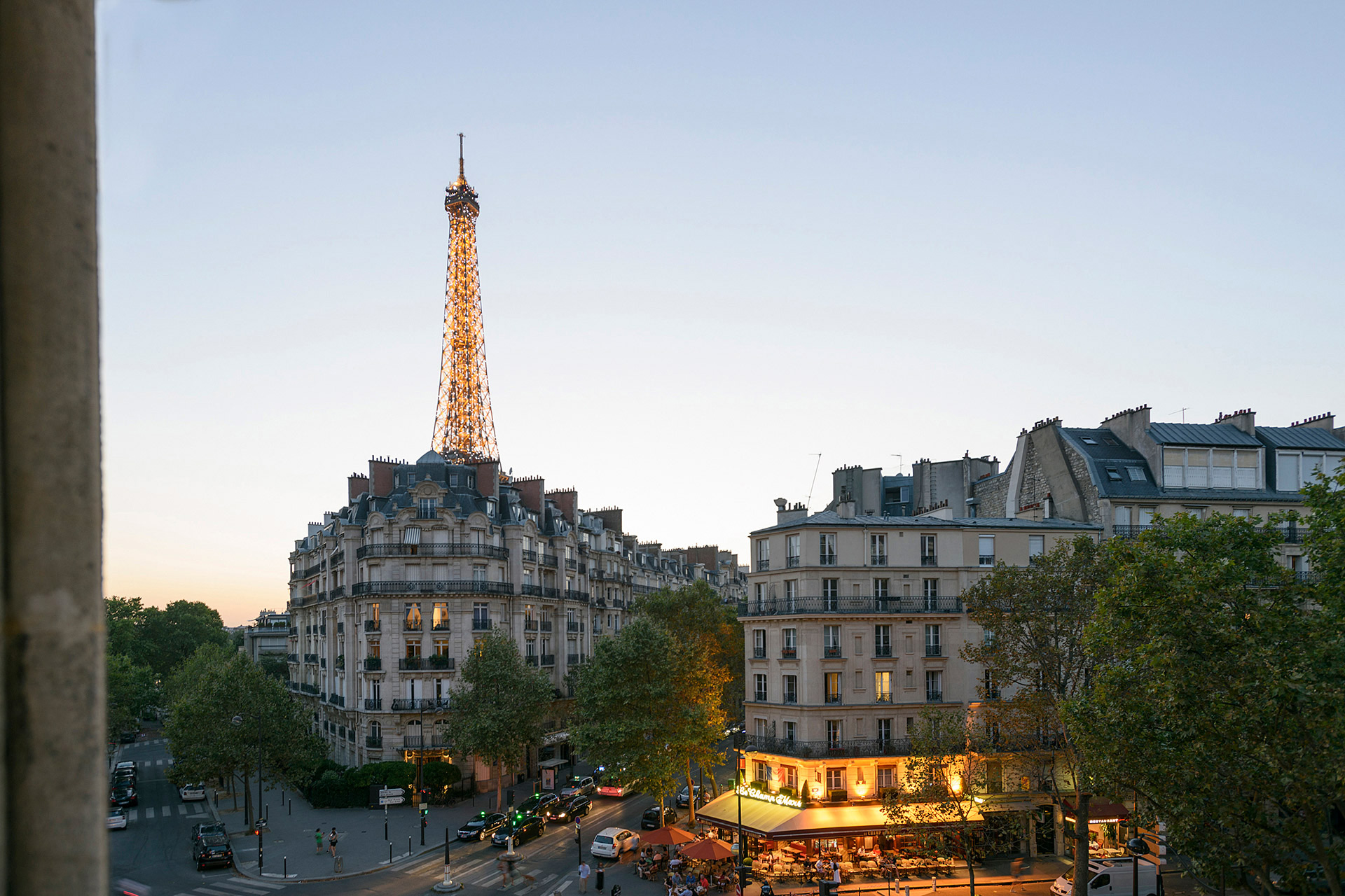 Watch the sunset and the Eiffel Tower in the Clairette vacation rental offered by Paris Perfect