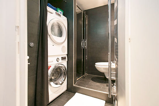 Second bathroom and laundry facilities in the Carménère vacation rental offered by Paris Perfect